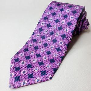 Roberr Talbott Purple Geometric Neck Tie New
